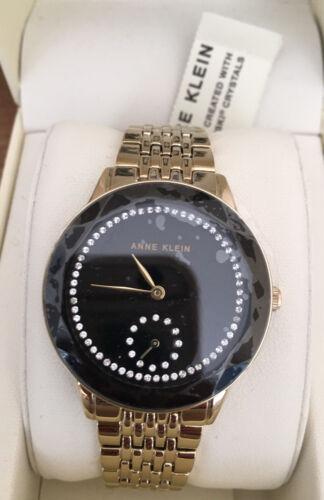 Women's Anne Klein Crystal Accent Mesh Strap Watch, 30mm Gol