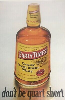 1968 Early Times Kentucky Straight Bourbon Whiskey Vintage Print Ad for sale  Hudson