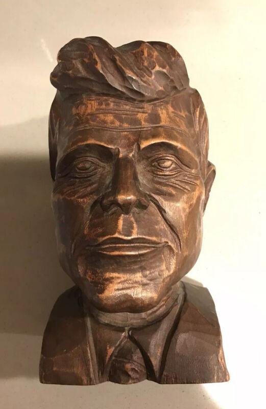 Vintage JFK Carved Wood Bust John F. Kennedy U.S. President History RARE
