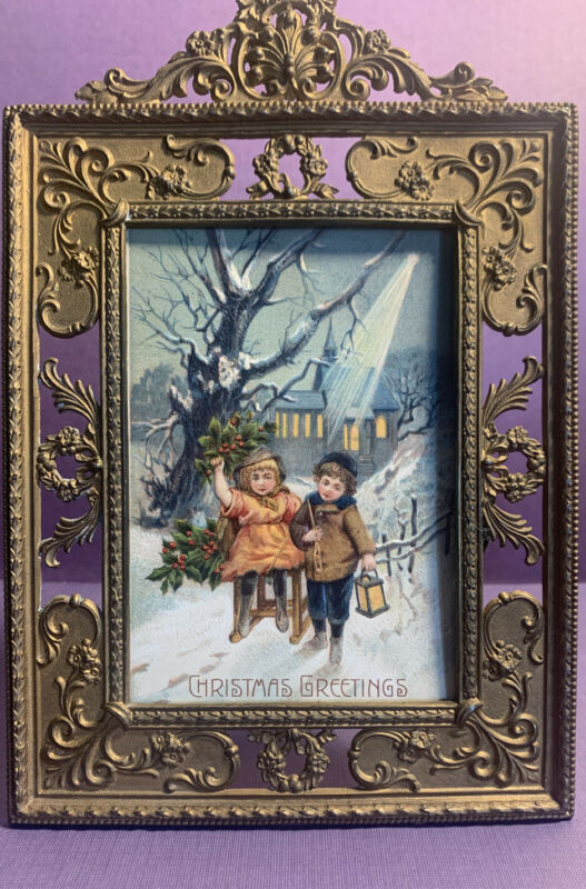 "Antique  Christmas Victorian Picture Frame 3.5"" X5"" Easel Stand"