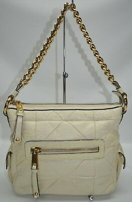 Marc Jacobs Italy Ivory Quilted Leather Zip Chain Strap Satchel Shoulder Bag