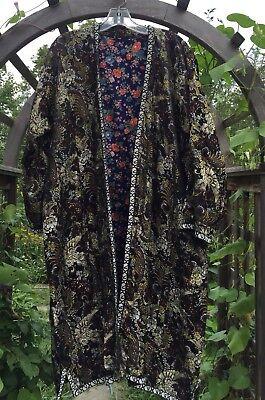 Antique Vintage Asian Silk Rayon Robe Kimono Dress Floral Black
