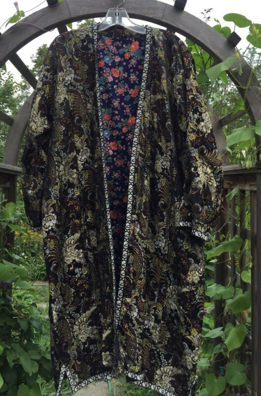 Antique Vintage Asian Silk Rayon Robe Kimono Dress Floral Black