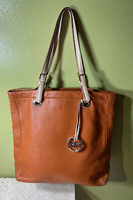 MICHAEL KORS ORANGE LEATHER TOTE PURSE SHOULDER HOBO BAG W MK MEDALLION
