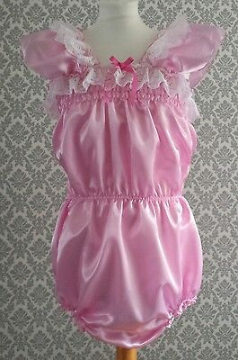 SALE ABDL Adult Baby Sissy Boi Frilly satin sun Suit Romper lace dress cosplay