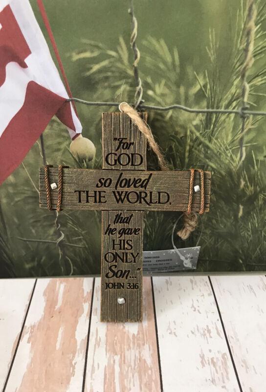 """Ornament Christmas Faith Cross Crucifix """" For GOD so loved the World """" Resin 4"""""""