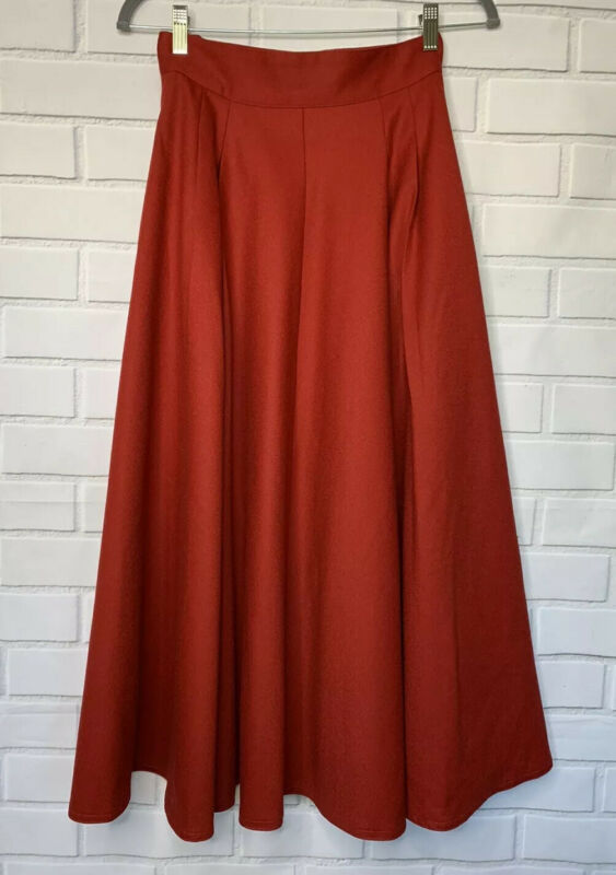 Vintage High Waisted Skirt 6 Size Flare Long Wool Red