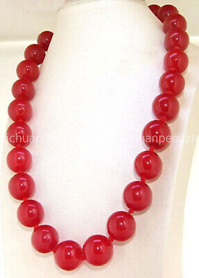 On Sale Fashion 6/8/10mm Natural Red Jade Gemstone Round Beads Necklace 18