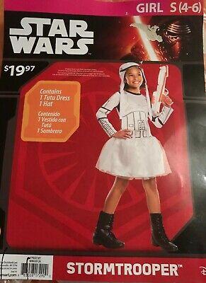 NWT Star Wars Stormtrooper Girls' Costume Small (4-6) Free S/H - Stormtrooper Costume For Girls