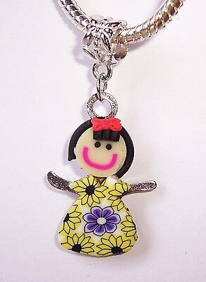 Yellow Dress For Little Girl (Little Girl in a Yellow Dress Daughter Clay Dangle Charm for European)