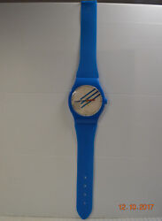 Vintage Quartz Jumbo Oversized Plastic Blue Watch Wall Clock - Made in Taiwan