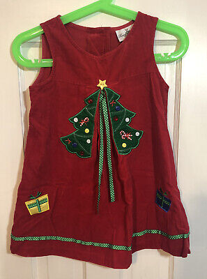 Rare Editions Dress Jumper Red & Green Christmas Tree Corduroy Size 6