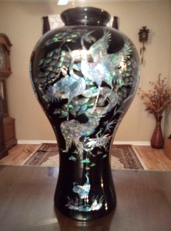 Beautiful 18 Inch Korean Precious Stone Mother of Pearl Black Lacquer Vase