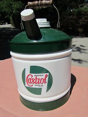 Vintage 2-Gallon Castrol Wakefield Oil Can Repainted w/new Decal
