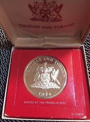 1974 $10 Trinidad And Tobago Proof Silver Coin