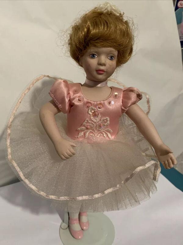 "Cute Porcelain and Cloth Blonde Ballerina Girl Doll  9"" Tall Avon"