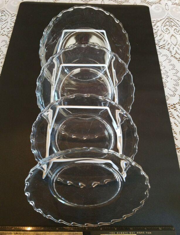 "Vintage Crystal Fostoria Century 4 Clear Pressed Glass Salad Plates 7.5"""