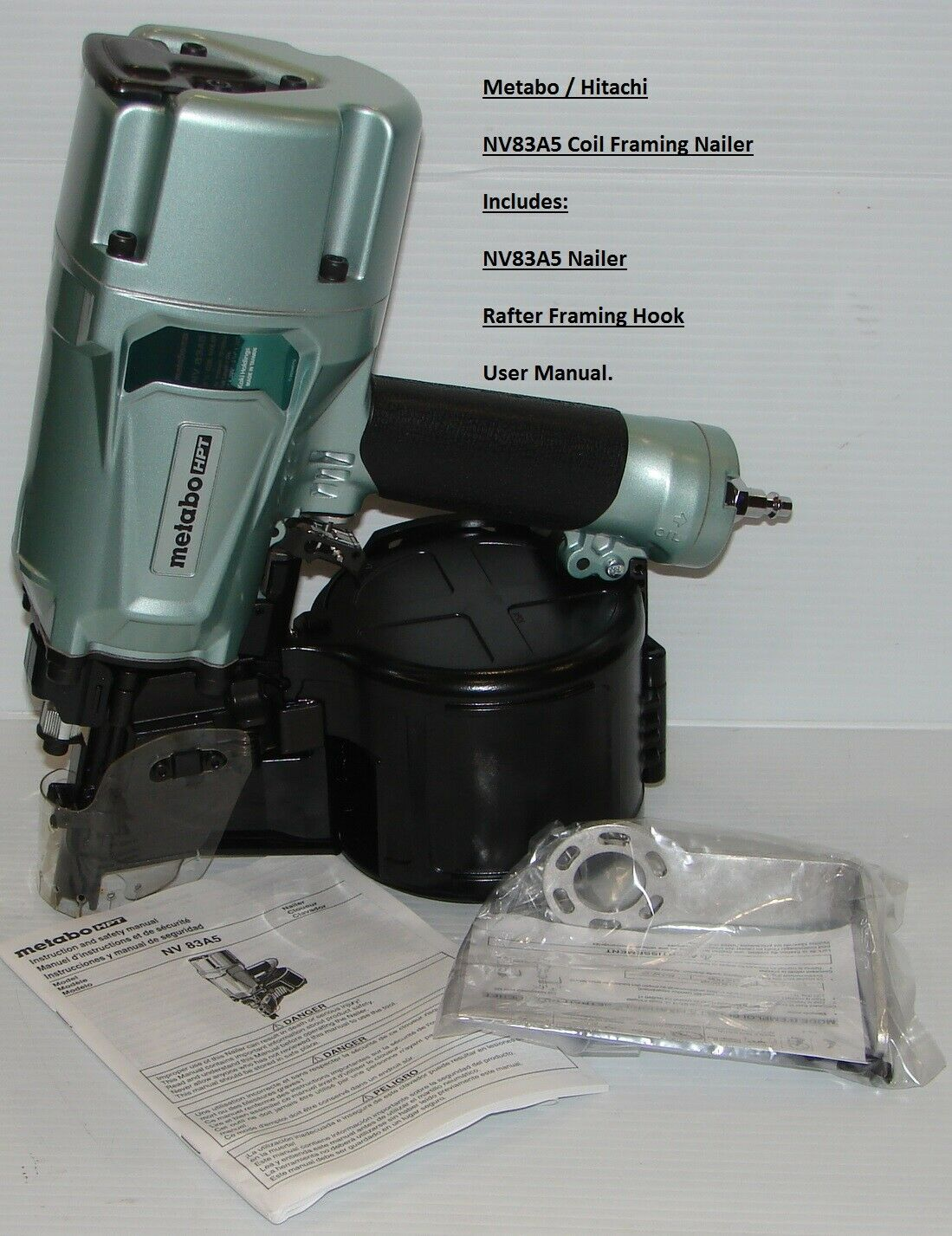 "Metabo / HPT NV83A5 3-1/4"" Coil Framing Nailer, Brand New Hi"