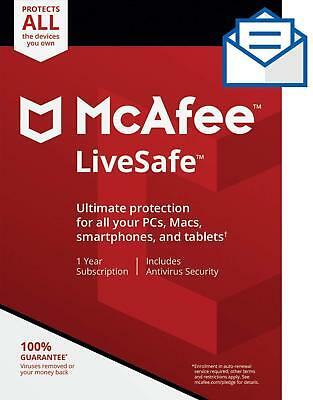 Mcafee LiveSafe 2018 ✅1 Year Subscription-Unlimited Device✅100% Original Account
