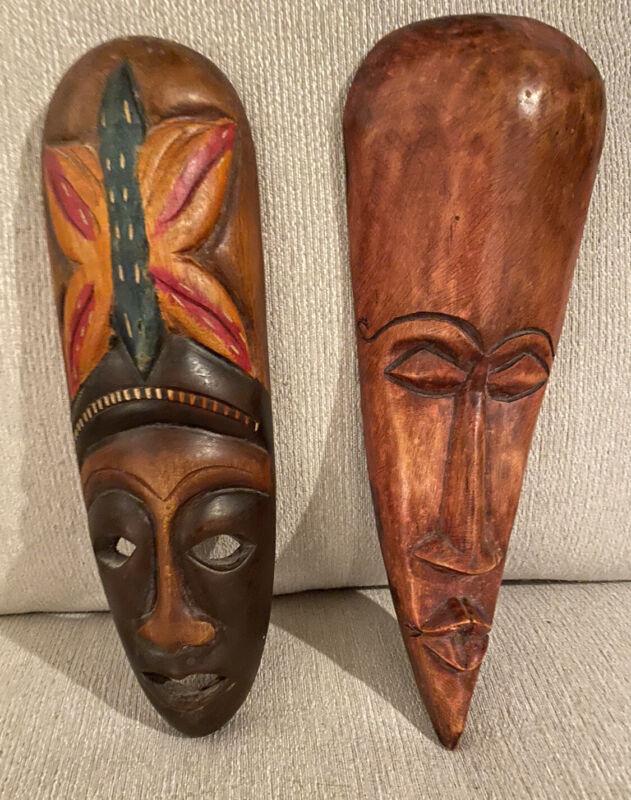 Handmade African Masks Wall Art Set Of 2
