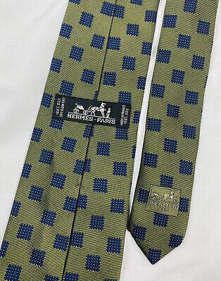 1960s – 70s Men's Ties | Skinny Ties, Slim Ties Hermes Green Blue Square Geometric VTG Silk Tie 1960s 3.5 in Width $69.99 AT vintagedancer.com
