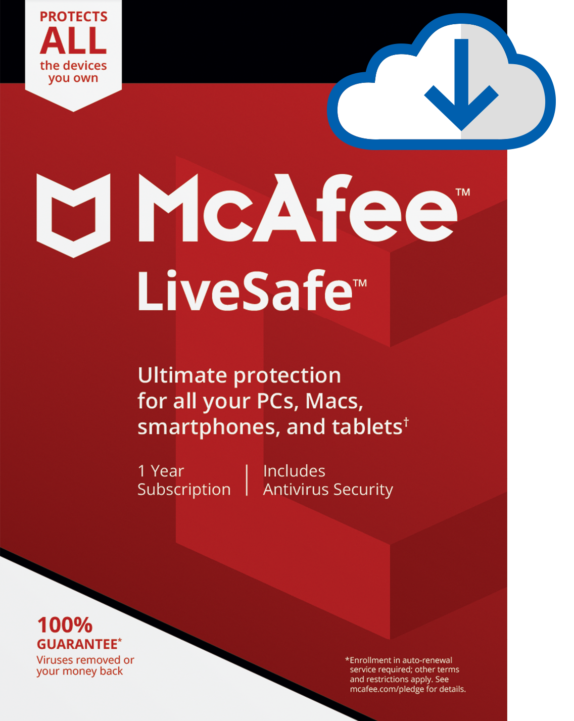 Mcafee LiveSafe 2020 UNLIMITED Devices 1 Year *DOWNLOAD VERISION**25 DIGIT KEY*
