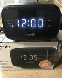 Capello Sleep Easy Digital Alarm Clock with AM/FM Radio Black CR15 New Open Box