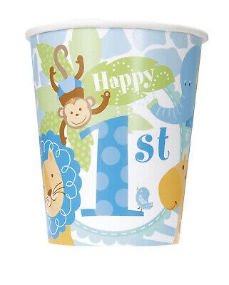 1st Birthday Cups Blue Safari Giraffe Monkey Lion Decoration Favor Supplies