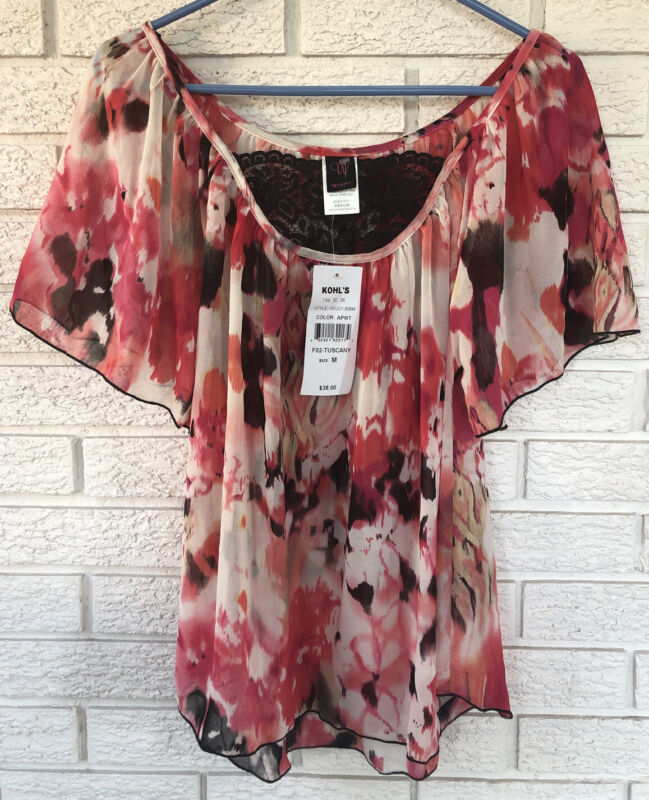 Wrapper Brand Floral Flowing Raglan SS Wings Lace Inset Women's Med Sheer NWT