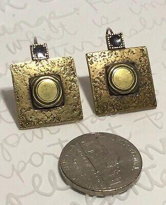 MARJORIE BAER SF Vintage Textured Oxidized Bronze Square Hook Earrings 7.6g
