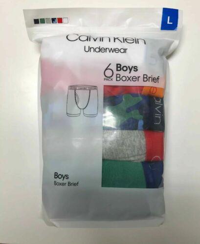 Calvin Klein Cotton Stretch Underwear Boys Boxer Briefs, 6 Pack 6pc, S/M/L, New