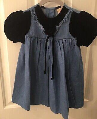 Vintage Little Precious Girl's Size 3T Denim With Black Velvet Dress NEW