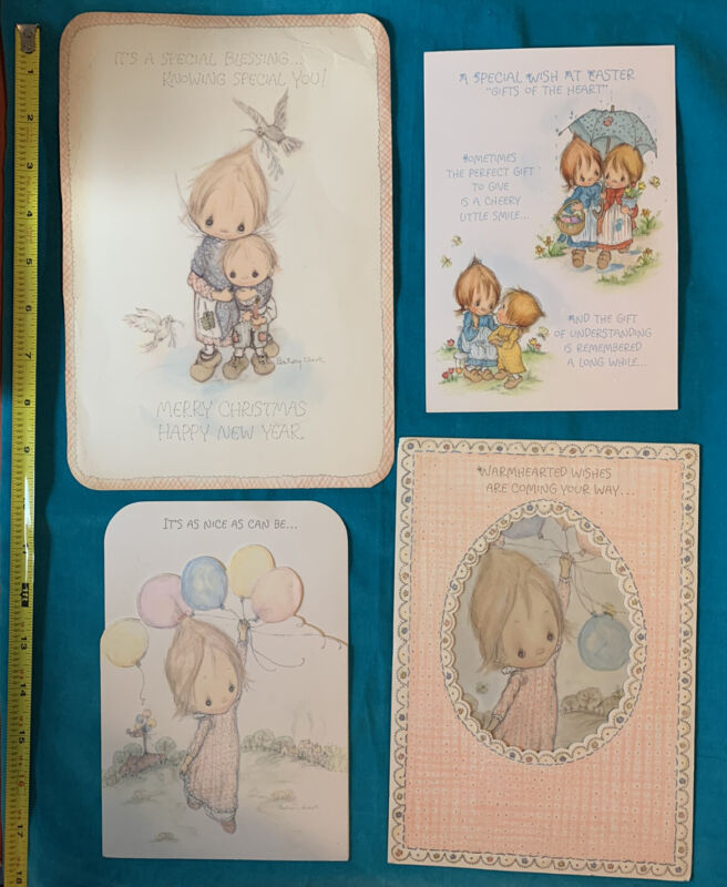 4 Vintage 1970s Betsey Clark Greeting Cards Stand up Tri-fold Used