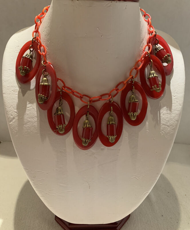 Vintage Red Bakelite Necklace With Celluloid Chain