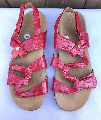 Patent Croc (Vionic Paros Red Patent Croc Ankle Back Strap Women's Sandals Size US 10 )