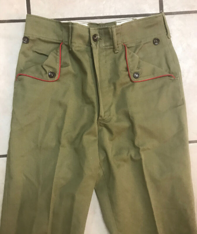 """Vintage Boy Scouts Green Uniform Pants - red piping on pockets - 26"""" Waist"""