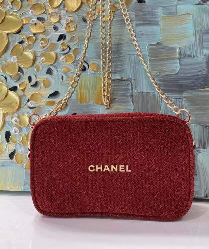 Chanel Holiday 2020 Red Cosmetic Bag Purse With Crossbody Chain With Gift Box
