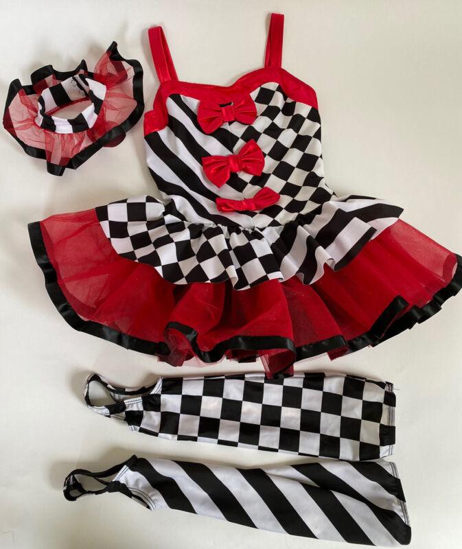 Weissman Harlequin Showman Costume, Tutu, Size 7/8, Diamonds & Stripes, Dress Up
