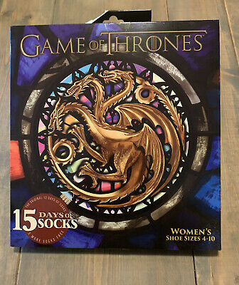 NEW GAME OF THRONES 15 Days Of Socks Mystery Advent Calendar Women's Size: 4-10