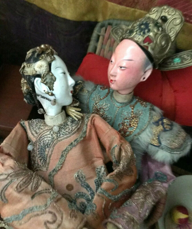 ANTIQUE JOINTED CHINESE MALE OPERA DOLL*SILK EMBROIDERY*DRAGON ROBE*GOLD HELMET