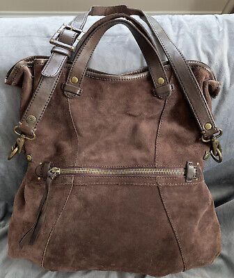 LUCKY BRAND LARGE SUEDE LEATHER HOBO SATCHEL CROSSBODY SHOULDER -