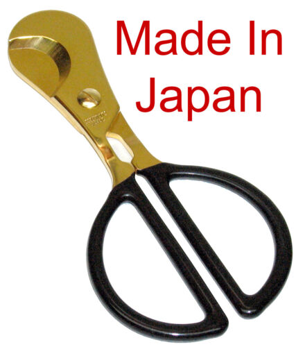 Wall Street Made In Japan Gold cigar Cutters Scissors w Leathery Case NEW