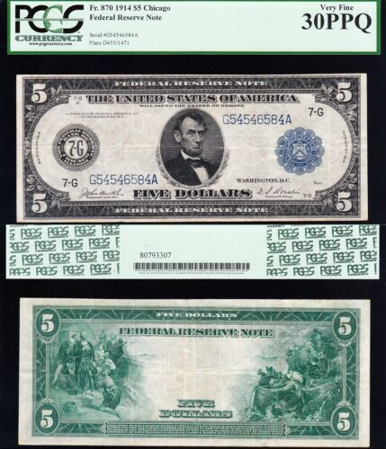 AWESOME Crisp Choice VF++ 1914 $5 Chicago FRN Note! PCGS 30 PPQ! FREE SHIP! 6584