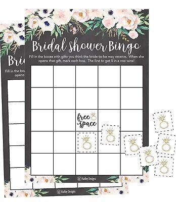 25 Rustic Chalk Pink Flower Bingo Game Cards Bridal Wedding Shower Bachelorette](Wedding Bingo)
