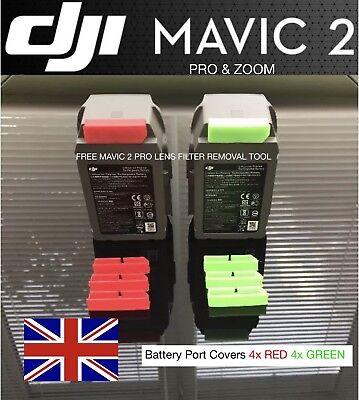 dji Mavic 2 Pro & dji Mavic 2 Zoom Battery Port Covers 4X Green 4x Red