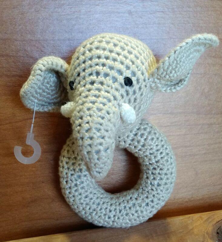 Cheengoo Organic Hand Crocheted Bamboo Rattle Elephant