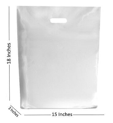 10 Large White Plastic Bags Boutique Gift Shop Carrier Bag 15x183 Inches