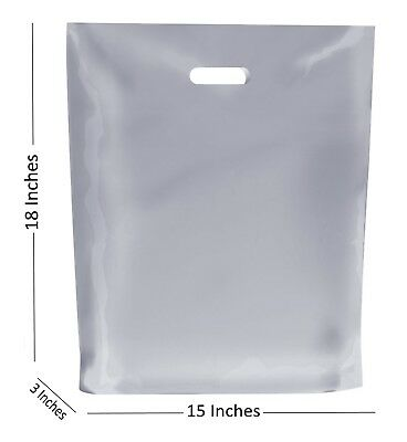 10 Large Frosted Plastic Bags Boutique Gift Shop Carrier Bag 15x183 Inches