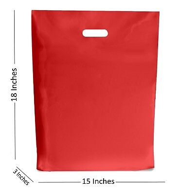 10 Large Red Plastic Bags Boutique Gift Shop Carrier Bag 15x183 Inches
