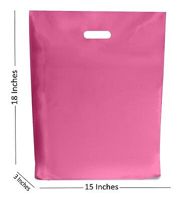 10 Large Pink Plastic Bags Boutique Gift Shop Carrier Bag 15x183 Inches